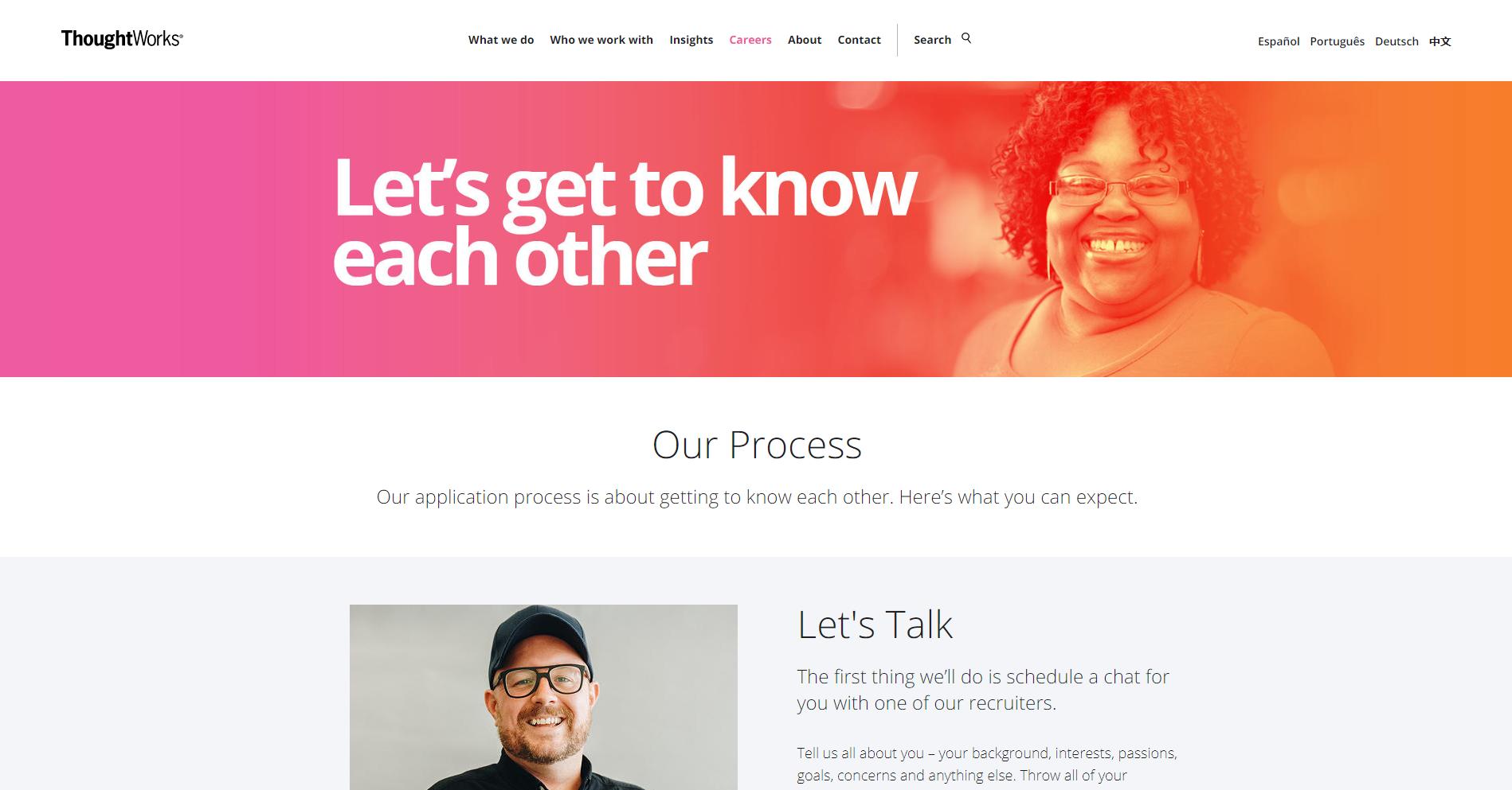 Employer branding site van ThoughtWorks